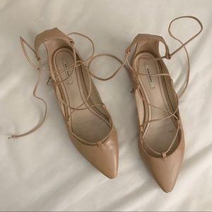 Zara basic lace up flats